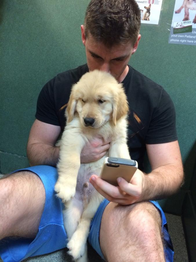Old navy hot guy with dog